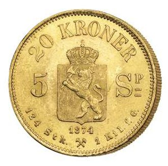 "Gold coin - A 20-crown gold coin from Norway. Introduced in 1875, it became part of the Scandinavian Monetary Union, which was based on a gold standard. Norwegian gold reserves included tonnes of this and other coins, backing Norway's paper money. The coin was designed for circulation: ""124 Stk. 1 Kil. f. G."" means that 124 pieces gave one kilogramme of pure gold."