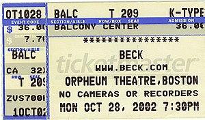 Orpheum Theatre (Boston) - Image: 2002 Beck Orpheum Boston