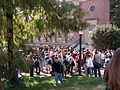 2003-10-29 Students waiting outside Venable Hall during fire drill at UNC.jpg