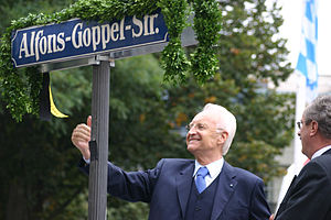 Alfons Goppel - A street in Munich was named after him in 2005