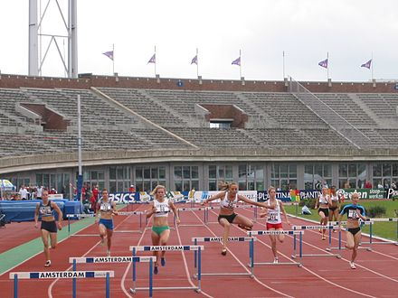 A women's 400 m hurdles race at the 2007 Dutch Championships - Track and field