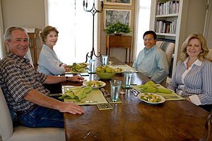 Alberto Gonzales - Gonzales and his wife Rebecca, with George W. Bush and Laura Bush at the Prairie Chapel Ranch on August 26, 2007, the day that Gonzales's resignation was accepted.