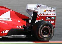 Photo de l'aileron arrière des Ferrari, déclaré illégal.