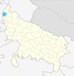 Location of Shamli district in Uttar Pradesh
