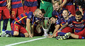 Treble (association football) - FC Barcelona are the only European team in football history to win a continental treble twice, in 2008–09 and in 2014–15.
