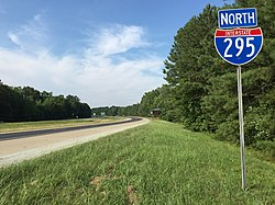 2017-07-13 17 34 04 View north along Interstate 295 between Interstate 95 and Exit 3 (U.S. Route 460, Norfolk, Petersburg) in New Bohemia, Prince George County, Virginia.jpg