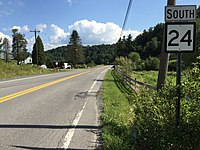 2017-07-30 16 51 43 View south along West Virginia State Route 24 (Maple Spring Highway) at Orphan Home Road (Preston County Route 24-1) in Eglon, Preston County, West Virginia.jpg