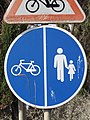 2018-02-04 Pedestrian and cycle path road sign, Albufeira.JPG