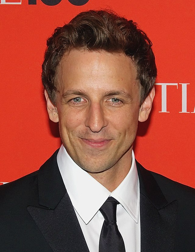 The 44-year old son of father Larry Meyers and mother Hilary Claire Olson Meyers, 183 cm tall Seth Meyers in 2018 photo
