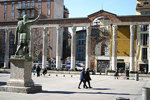 Milan - Roman ruins in Milan: the Columns of San Lorenzo.