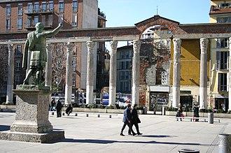 Milan - Roman ruins in Milan: the Columns of San Lorenzo.