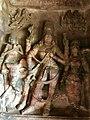 6th century Ardhanarishvara (left half Shiva, right half Parvati) with skeletal Bhringi, Nandi, female attendant (cave 1), Badami Hindu cave temple Karnataka 2.jpg