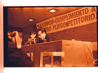 Mexican Movement of 1968 - Strike Council members Cabeza de Vaca and Perelló at a press conference. (Mexico, 1968)