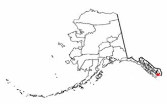 Metlakatla, Alaska - Image: AK Map doton Metlakatla