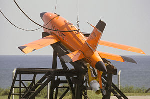 A BQM-34 Firebee I on stand prior to launch.JPEG
