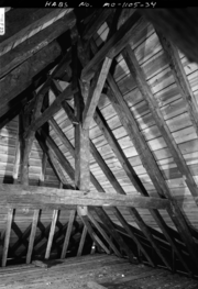 A Photograph of the Norman Roof Truss in the Attic of the Bolduc House in Ste Genevieve MO