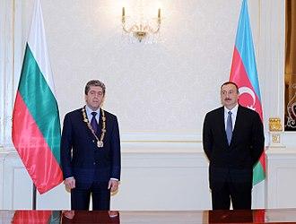 Georgi Parvanov - Parvanov witj the Heydar Aliyev Order.