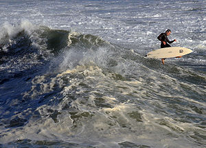 English: A surfer in Santa Cruz, California. A...