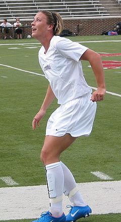 Wambach during a Washington Freedom exhibition game in 2004 Abby Wambach.jpg