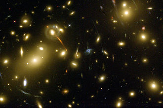 Dark Energy Survey - Strong lensing in cluster Abell 2218. Credit: NASA/ESA