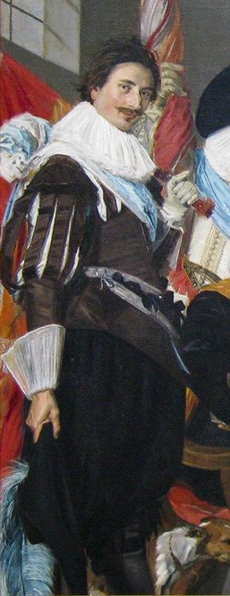 Adriaen Matham - Detail of Schuttersstuk by Frans Hals in 1627 showing Adriaen Matham as ensign