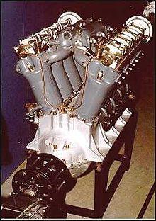 El motor de avión Liberty muestra la configuración V8.