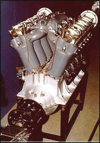 V8 engine - Experimental Liberty V8 aircraft engine shows its 45° V-shaped configuration when looking at it from the front or back. Automotive versions usually use a wider, 90° block angle.