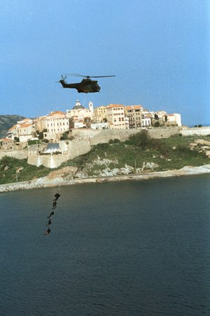 Special Patrol Insertion/Extraction - 2eme REP Legionnaires extract from a Puma over Calvi.