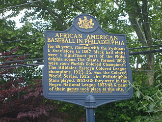 "44th and Parkside Ballpark - ""African American Baseball in Philadelphia"", Pennsylvania Historical and Museum Commission, (1998) at Belmont and Parkside Avenues, Philadelphia, PA 19131 photographed May 24, 2011."