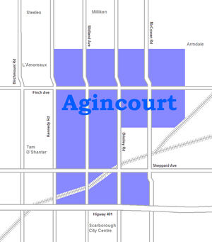 Demographics of Toronto neighbourhoods - Image: Agincourt map