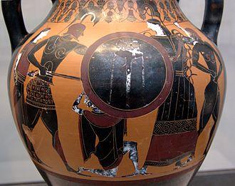 Locrians - Ajax raping Cassandra from the Palladium. Side A of an Attic black-figure amphora, ca. 540 BC. From Vulci.