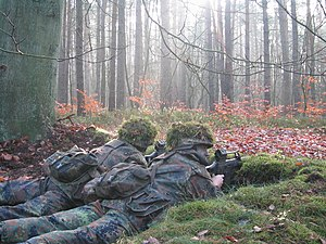 Panzergrenadier - Panzergrenadiere of the Bundeswehr manning a forward sentry (de: Alarmposten) during basic training.