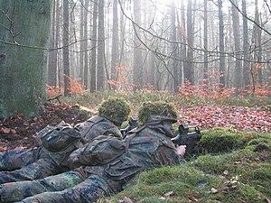 Panzergrenadier - Panzergrenadiere of the Bundeswehr manning a forward sentry (de: Alarmposten) during basic training.