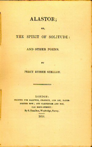 Alastor, or The Spirit of Solitude - 1816 first edition title page.