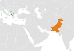 Map indicating locations of Albania and Pakistan