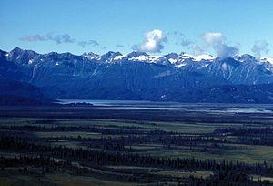Aleutian Range - Blockade Glacier in the Neacola Mountains (left) and the Aleutian Range