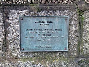 Alexander Cruden - Alexander Cruden plaque in Aberdeen
