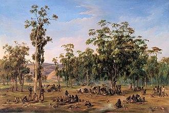 Aboriginal Australians - An Aboriginal encampment, near the Adelaide foothills, 1854