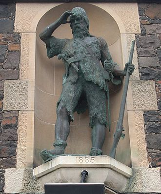 Robinson Crusoe - Statue of Robinson Crusoe at Alexander Selkirk's birthplace of Lower Largo by Thomas Stuart Burnett