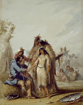 French Americans - The Trapper's Bride shows a trapper, Francois, paying $600 in trade goods for an Indian woman to be his wife, ca. 1837