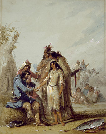 The Trapper's Bride shows a trapper, Francois, paying $600 in trade goods for an Indian woman to be his wife, ca. 1837 Alfred Jacob Miller - The Trapper's Bride - Walters 37194012.jpg
