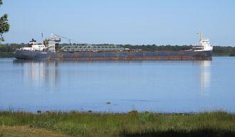 St. Joseph Island (Ontario) - The Algomarine, a 223 metre bulk carrier seen in the northwest shipping channel between St. Joseph Island, Ontario and Neebish Island, Michigan.