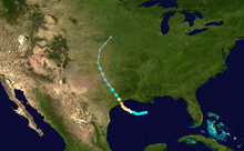 Map plotting the track and the intensity of the storm, according to the Saffir-Simpson scale Alicia 1983 track.png