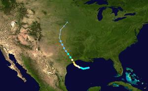 Hurricane Alicia - Image: Alicia 1983 track