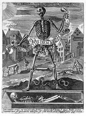 "Death - Allegory of death: skeleton holding banderolle ""Vigilate quia nescitis diem ..."", anon., possibly Dutch or German. Made c.1600"
