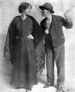 "The Playboy of the Western World - Irish actors Sara Allgood (""Widow Quin"") and J. M. Kerrigan (""Shawn Keogh""), in The Playboy of the Western World, Plymouth Theatre, Boston, 1911"