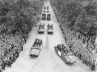 Four DUKW amphibious vehicles taking part in the Victory Parade in London on 8 June 1946 Allied Victory Parade in London, 1946 H42790.jpg