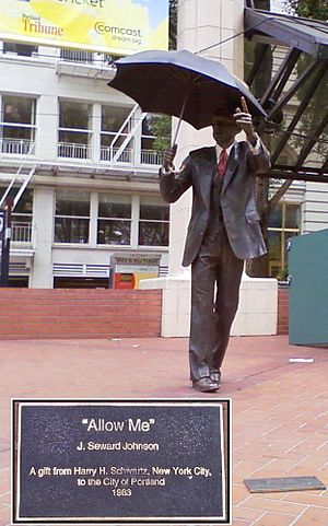 John Seward Johnson II - Allow Me sculpture in Pioneer Courthouse Square, Portland, Oregon