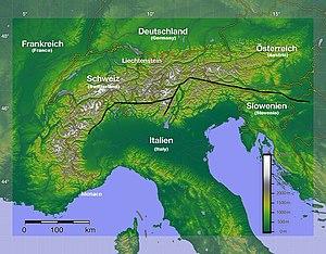 Periadriatic Seam - Relief of the Alps, and the Periadriatic Seam