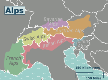 Alps On A Map Alps – Travel guide at Wikivoyage